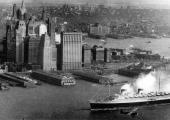 Ripresa storica del Transatlantico REX all'arrivo a New York city